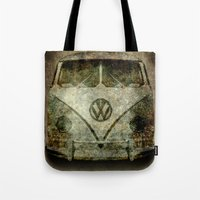 Classic VW  micro bus with battle scars and a distressed patina Tote Bag