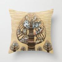 Owls Hotel Throw Pillow