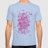 Pink Love Mens Fitted Tee Athletic Blue SMALL