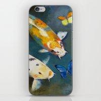Koi Fish And Butterflies iPhone & iPod Skin