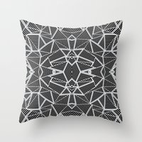 Abstract Lines Black And… Throw Pillow