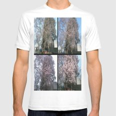 Tree Blossoms White SMALL Mens Fitted Tee