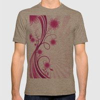 Pretty Pink Flourish and Flower Mens Fitted Tee Tri-Coffee SMALL