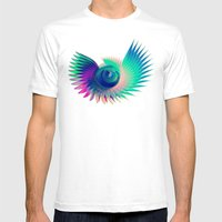 Abstract Wing Mens Fitted Tee White SMALL