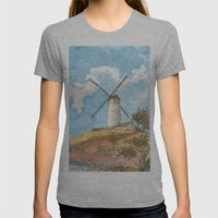 Windmill Against a Blue Sky Womens Fitted Tee Athletic Grey SMALL