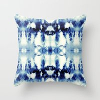 Tie Dye Blues Throw Pillow