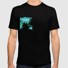 Watercolor World Map Black SMALL Mens Fitted Tee
