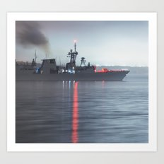 Warship Weighs Anchor Art Print