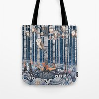 Owl Forest Winter Blue Tote Bag