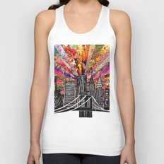 Linocut New York Blooming Unisex Tank Top