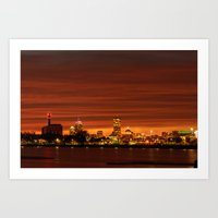 Boston, Christams Night … Art Print