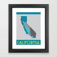 I Love California - California State Map Print Framed Art Print