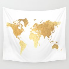Textured Gold Map Wall Tapestry