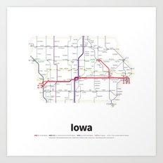 Highways of the USA – Iowa Art Print