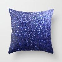 Royal Blue Glitter Sparkles Throw Pillow