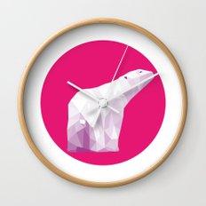 Magenta Polar Bear Wall Clock