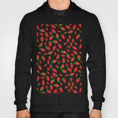 Summer bright red hand painted watercolor strawberries fruits pattern Hoody
