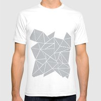 Abstract Mountain Grey Mens Fitted Tee White SMALL