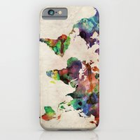 watercolor iPhone & iPod Cases featuring World Map Urban Watercolor by artPause