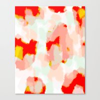 Veronica - Red & blush abstract art Canvas Print