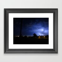Lightening Over Resevoir… Framed Art Print
