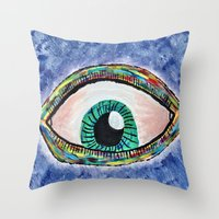 Technicolor Eye Throw Pillow