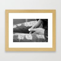 Hidden modesty Framed Art Print