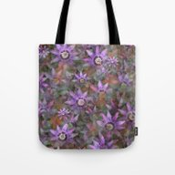 Tote Bag featuring Purple Clematis by LLL Creations