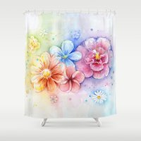Flowers Watercolor Flora… Shower Curtain