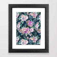 PROFUSION FLORAL - MIDNIGHT Framed Art Print
