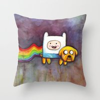 Nyan Time with Jake and Finn Throw Pillow