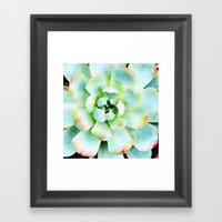 Mint Watercolor Succulen… Framed Art Print