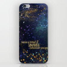 Leave a little sparkle wherever you go - gold glitter Typography on dark space backround iPhone & iPod Skin