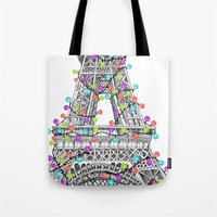 Paris Eiffel Tower Holiday Lights Multi Tote Bag