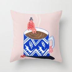 Morning Coffee swim Throw Pillow