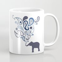 Multi-Blue Paisley Elephant Pattern Design Mug