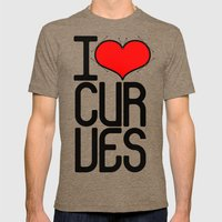 I heart curves Mens Fitted Tee Tri-Coffee SMALL