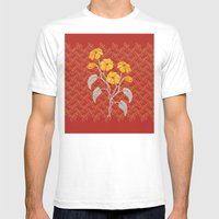 Flowers Red Pattern Mens Fitted Tee White SMALL