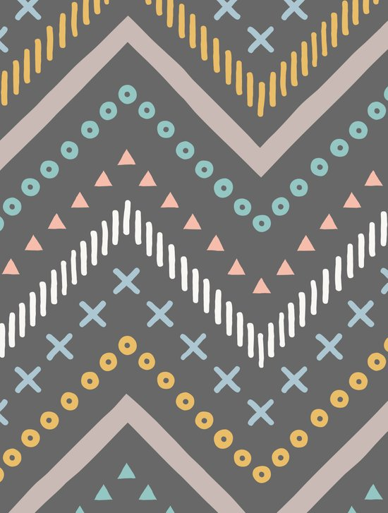 Mixed Zig Zag - in Charcoal Canvas Print
