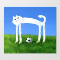 Skinny Cat With Soccer Ball Canvas Print