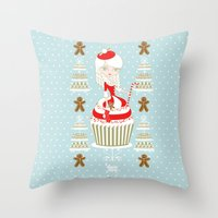 Merry Lady Christmas Cup… Throw Pillow