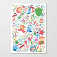 Ponyo Pattern - Studio Ghibli Canvas Print