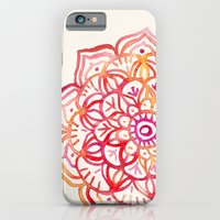 iPhone Cases featuring Watercolor Medallion in Sunset Colors by micklyn