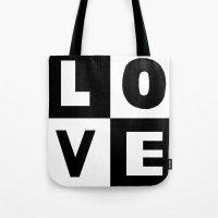Love Black Tote Bag