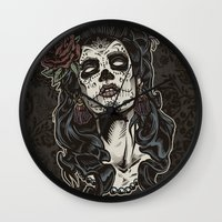 Day of The Dead Woman Wall Clock