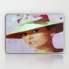 Audrey Hepburn Watercolour Portrait with hat Laptop & iPad Skin