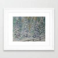 Winter Pines Framed Art Print