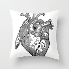 Vintage Anatomy Heart Throw Pillow