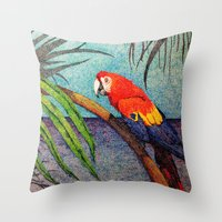POINTILLISM PARROT Throw Pillow