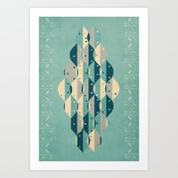 50's floral pattern IV Art Print